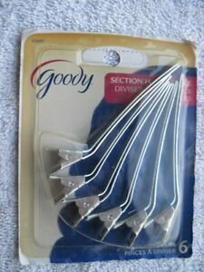 6 Goody Metal Sectioning Styling Hair Clips Section Style Secure Classic Dye