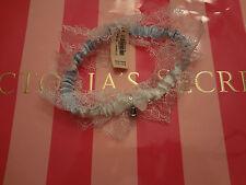 5bece0960f Victorias Secret Garter White Blue Satin Lace Wedding Bridal Rhinestone I Do