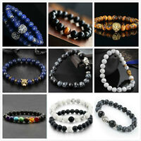 Chic Men Women Natural Gemstone Beads Lava Rock Bracelet Lion/Buddha Head Beaded