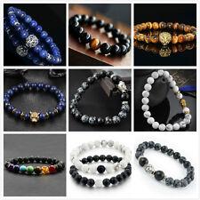 Natural Gemstone Beads Lava Rock Stone Men Women Bracelet Lion/Buddha Head Bead
