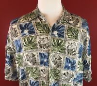 Campia Moda Blue Gray Rayon Hawaiian Aloha Shirt Mens Large floral camp button