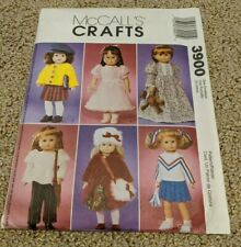 """McCall's Crafts Doll Wardrobe Sewing Pattern 3900 (Size 18"""" Girl Doll)"""