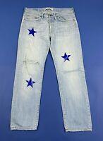 Mauro grifoni stars jeans uomo usato destroyed W34 tg 48 denim boyfriend T5229