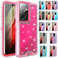 For Samsung Galaxy S21 S21+Ultra 5G Hard Glitter Quicksand Clear Defender Case