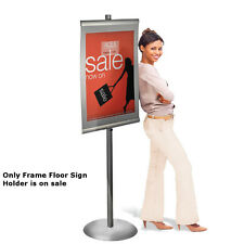 Metal Standing Easel Frame Floor Sign Holder in Silver 22W x 28H Inches
