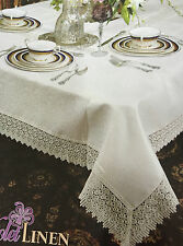 TREASURE WHITE LACE EDGE TABLE CLOTH BY VIOLA LINEN...RECTANGLAR