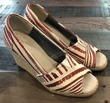 Women's TOMS Calypso  Wedge Red White Size 5.5