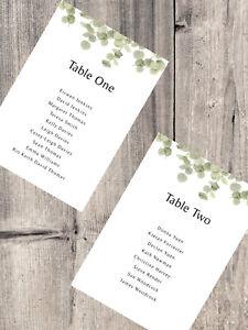 Handmade Personalised Wedding Table Plan Cards Seating Plan Eucalyptus Boho DIY