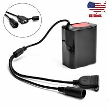 USB DC Rechargeable 12000mAh 18650 Battery Pack For Bicycle light Bike Torch US