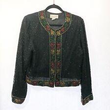 Lawrence Kazar Vintage Black Sequin Heavy Beaded Embellished Jacket Sz P Xl