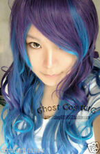 NEW Vocaloid ANTI THE HOLiC ruka Long Purple Mix Blue Wavy Cosplay Wig 80cm
