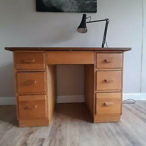 Delightful Original 1960's Mid-Century Twin Pedestal Oak And Mahogany Desk