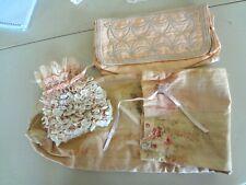 Vintage Lot Art Deco Pink Sea Shell Purse Lingerie or Hankie Holder Linen Sack