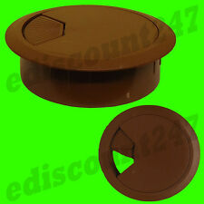SOLID 80mm Desk Plastic Grommet BROWN Table Cable Tidy Wire Hole Cover UK SELLER