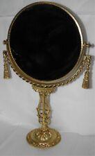 Hollywood Regency Stylebuilt Gold Gilt 2 Sided Pedestal Vanity Mirror w/ Tassels