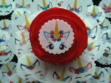 30 PRE-CUT UNICORN FACES HORN EARS FAIRY BUN CUP CAKE EDIBLE RICE PAPER TOPPERS
