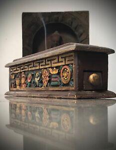 VINTAGE, BUDDHIST INCENSE BOX. EIGHT AUSPICIOUS SYMBOLS. TIBET. NEPAL.