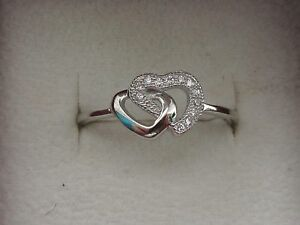 LADIES DOUBLE HEART RING CZ  STERLING SILVER   CHOOSE FROM 3 SIZES FREE GIFT BOX