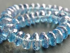 "Mano Facetado Blue Mystic Topacio rondelles, Tapers De 8,5 mm - 10mm, 8 "", 48 Beads"