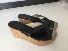 Jimmy Choo Womens Shoes Sandals Wedges Black Patent Leather Size Uk 4 Eu 37 Cork