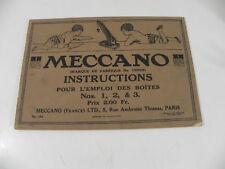 MECCANO 1918 MANUEL D' INSTRUCTIONS N° 1, 2, &  3  196 modèles à construire
