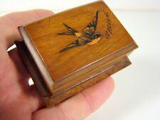 Ancienne Petite Boîte à Timbres Bois Marqueterie Napoléon III 7 x 5 x 2,5 cm