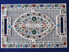 """18""""x12'' Filigree White Marble Tray Multi Inlay Marquetry Floral Kitchen Decor"""