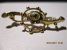 Antiguo Oro Sólido Broche/Pin Gema Esmeralda Natural + Seguridad Cadena de oro -1875-1920