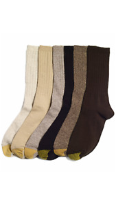 GOLD TOE Women's 6 Pack Ribbed Crew Socks, Size 9-11 fits shoe sizes 6-9, Brown