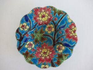 Fleurs Rouges et Jaunes - Cendrier Coupelle - 11.5cm - Emaux de Longwy - Superbe