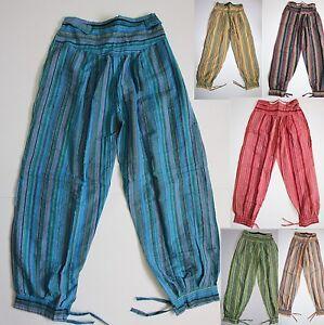 Hose Fischerhose Schlupfhose Indien Goa Hippie Psy Trance gestreifte Baggy pants