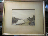 1880s WATERCOLOR LANDSCAPE by W H PHIPPS