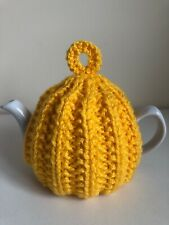 Small Knitted Yellow Rib Tea Cosy - Suitable For 1-2 Cup Teapot
