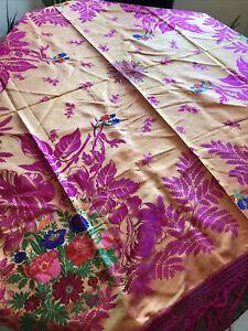 Vintage Silk Floral Piano Shawl