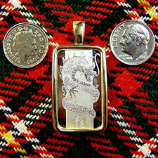 9ct gold New chinese dragon bullion pendant with 10g fine silver bar ingot