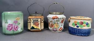 Lot (4) Antique VICTORIAN Style PORCELAIN FLOWER Decorated OLD BISCUIT JAR & LID