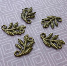 Antique Bronze Connector leaves, leaf - pack of 10