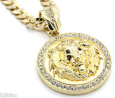 "Mens 14k Gold Plated 30""  Cuban Chain Lion Face Black  Eyes Pendant Necklace"