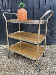Vintage Retro Three Tier Drinks Trolley / Tea Trolley With Removable Tray