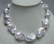 "HUGE 20-30MM SOUTH SEA GENUINE WHITE BAROQUE PEARL NECKLACE 18""L"