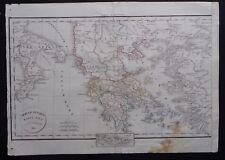 § carte Graeciae Antique mappa nova - Félix Delamarche 1829