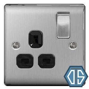 BG Nexus NBS21B Brushed Steel Satin Chrome Single Socket 1 Gang 13 Amp Black