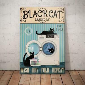 Black Cat Laundry Funny, Black Cat, Cat Mom, Cat Dad, Cat Lover, Home Decor.