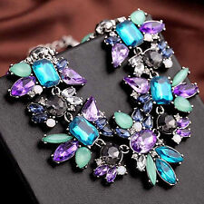 Women Fashion Jewelry Crystal Chunky Statement Bib Pendant Chain Necklace CH