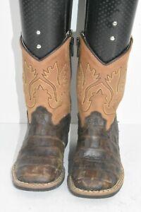 Old West BSI1830 Child Size 8D Infant Faux Croc Print Brown Leather Cowboy Boots
