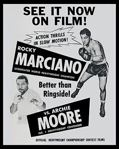Rocky Marciano vs Archie Moore Fight Film Poster, 8x10 Photo
