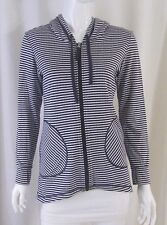 Active Wear LUCY Blue White Striped Zipper Front Sweatshirt Sweater Top XS