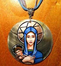 Pendant The Virgin & Child Harry Clarke Stained Glass Madonna Jesus signed SHELL