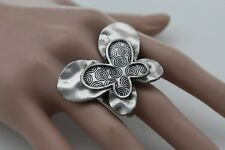 Retro Women Silver Metal Fashion Butterfly Ring Elastic Band Insect Animal Cool