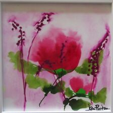 Jean Picton, Misty Pink - Original Bold Abstract Floral Painting Canvas 45x45cm